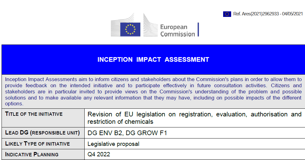 Revision of EU REACH; Inception Impact Assessment (IIA) on chemicals strategy actions
